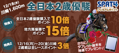 【特典1】全日本2歳優駿購入でポイント10倍!(地方所属馬優勝で15倍!)