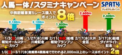 人馬一体!スタミナキャンペーン【特典1】中長距離重賞購入でポイント最大8倍!