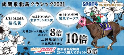 南関東牝馬クラシック2021キャンペーン【特典1】南関東牝馬クラシック3レース購入でポイント8倍!(二冠馬誕生で10倍!)