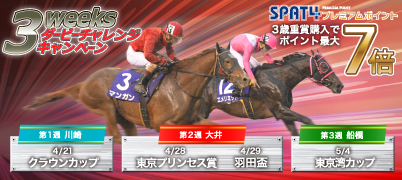 3weeksダービーチャレンジキャンペーン【特典】Road to Tokyo Derby!3歳重賞購入でポイント最大7倍!